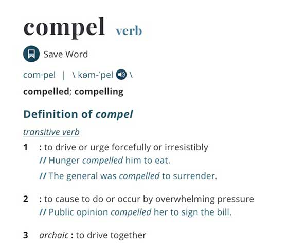 Love of Jesus compels us. Meaning of compels according to Merriam Webster.